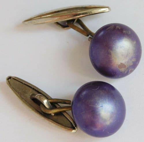 Vintage purple Art Deco cufflinks suitable for men or ladies pair pr